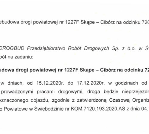 W dniach 15-17 grudnia zamknięta będzie droga powiatowa między Skąpem i Ciborzem